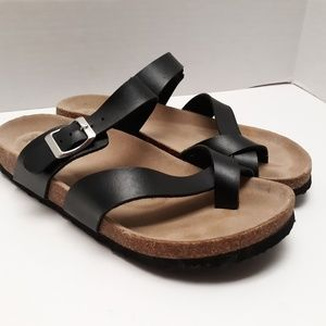 8f841895d88 MUDD Women Sandals Double Strap Molded Footbed